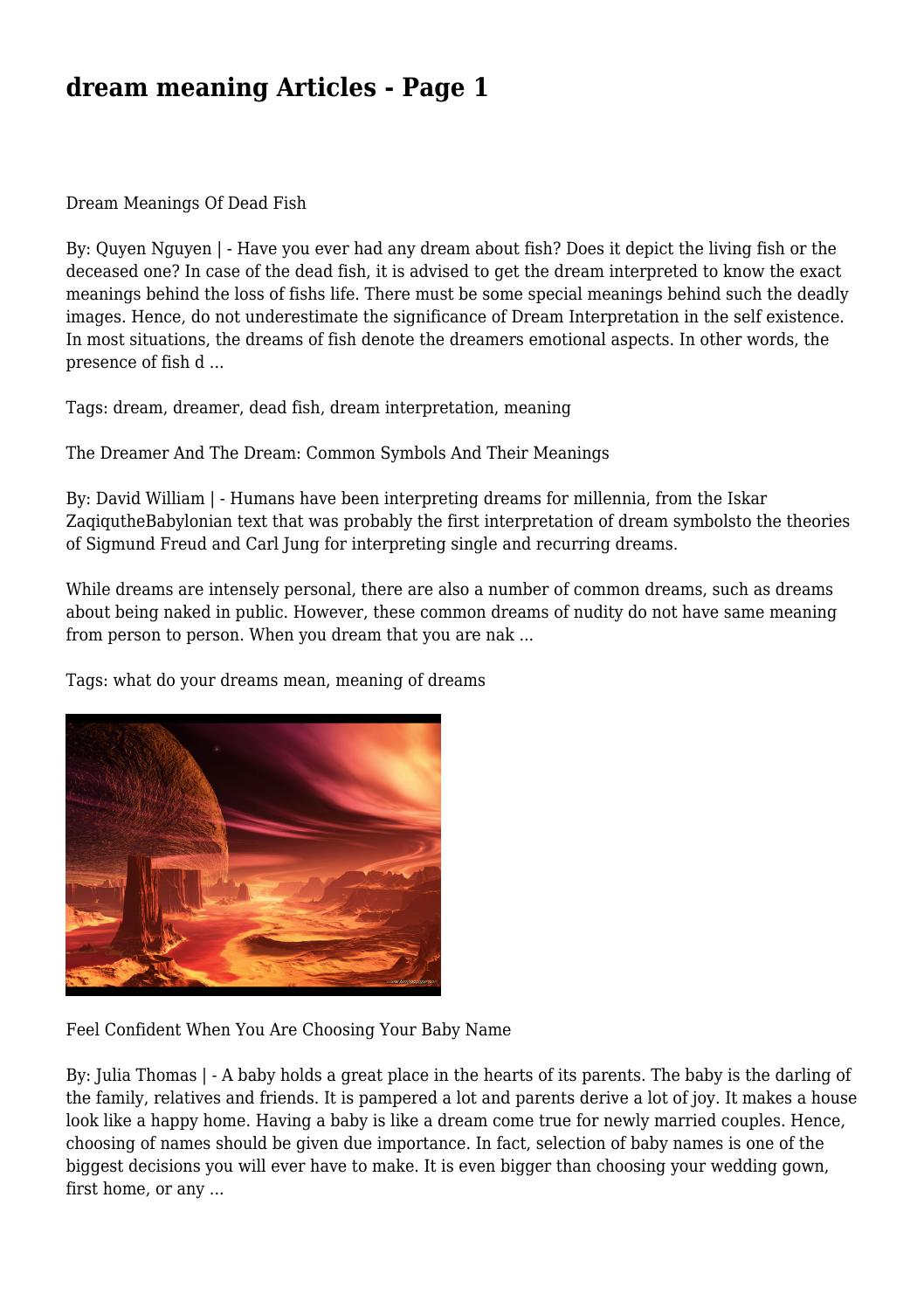 Dream Meaning Articles Page 1 By Macabreferry8997 Issuu