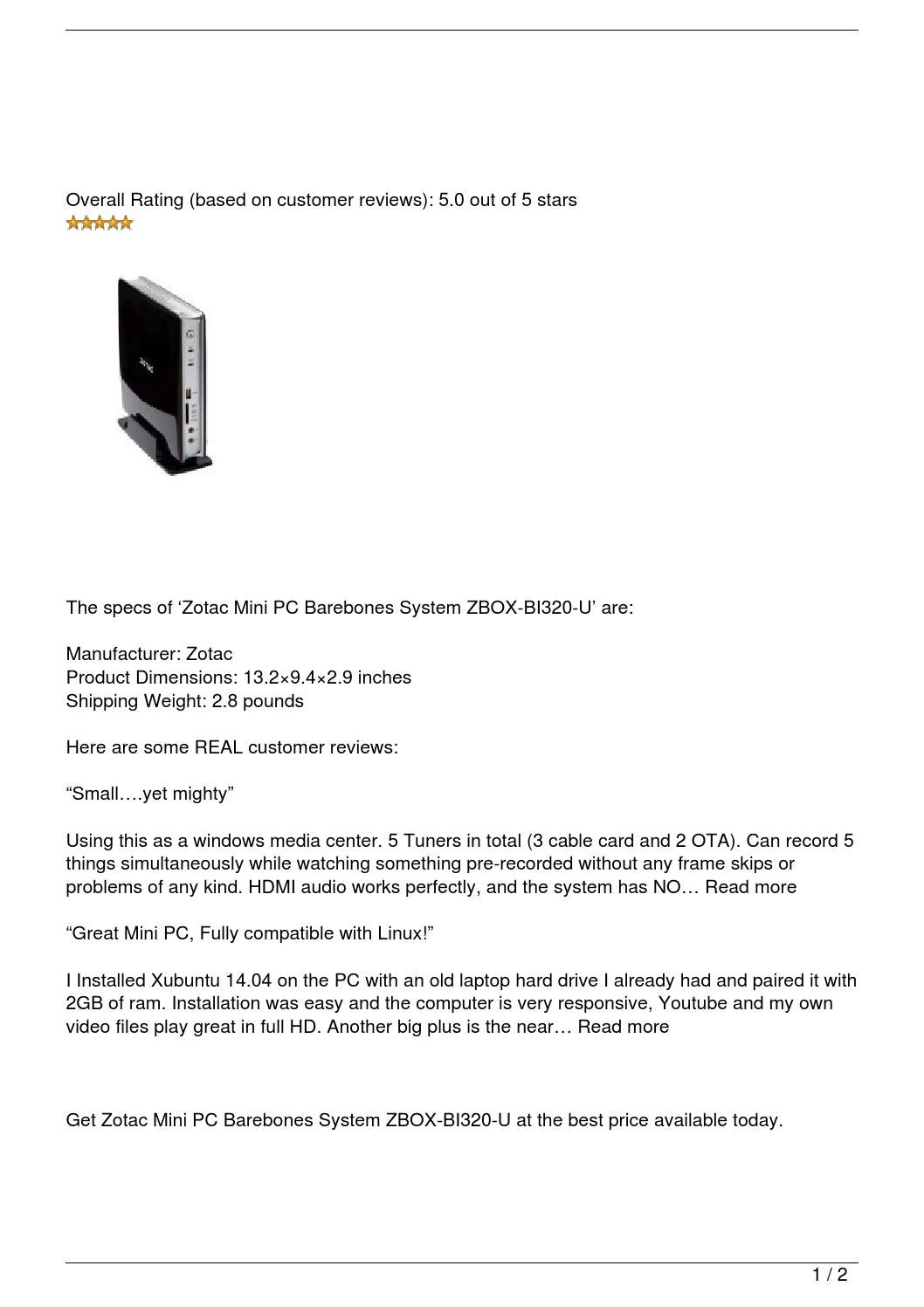 Zotac Mini PC Barebones System ZBOX-BI320-U Review by