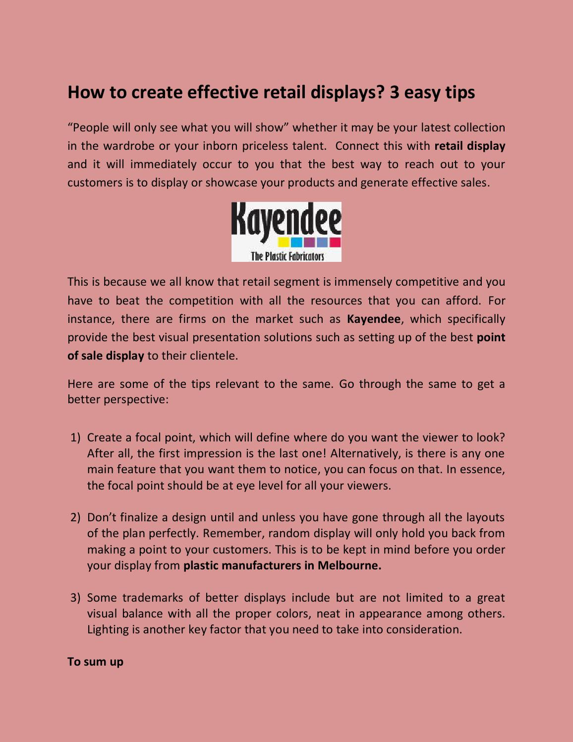 Create effective retail displays by acrylicmelbourne - issuu