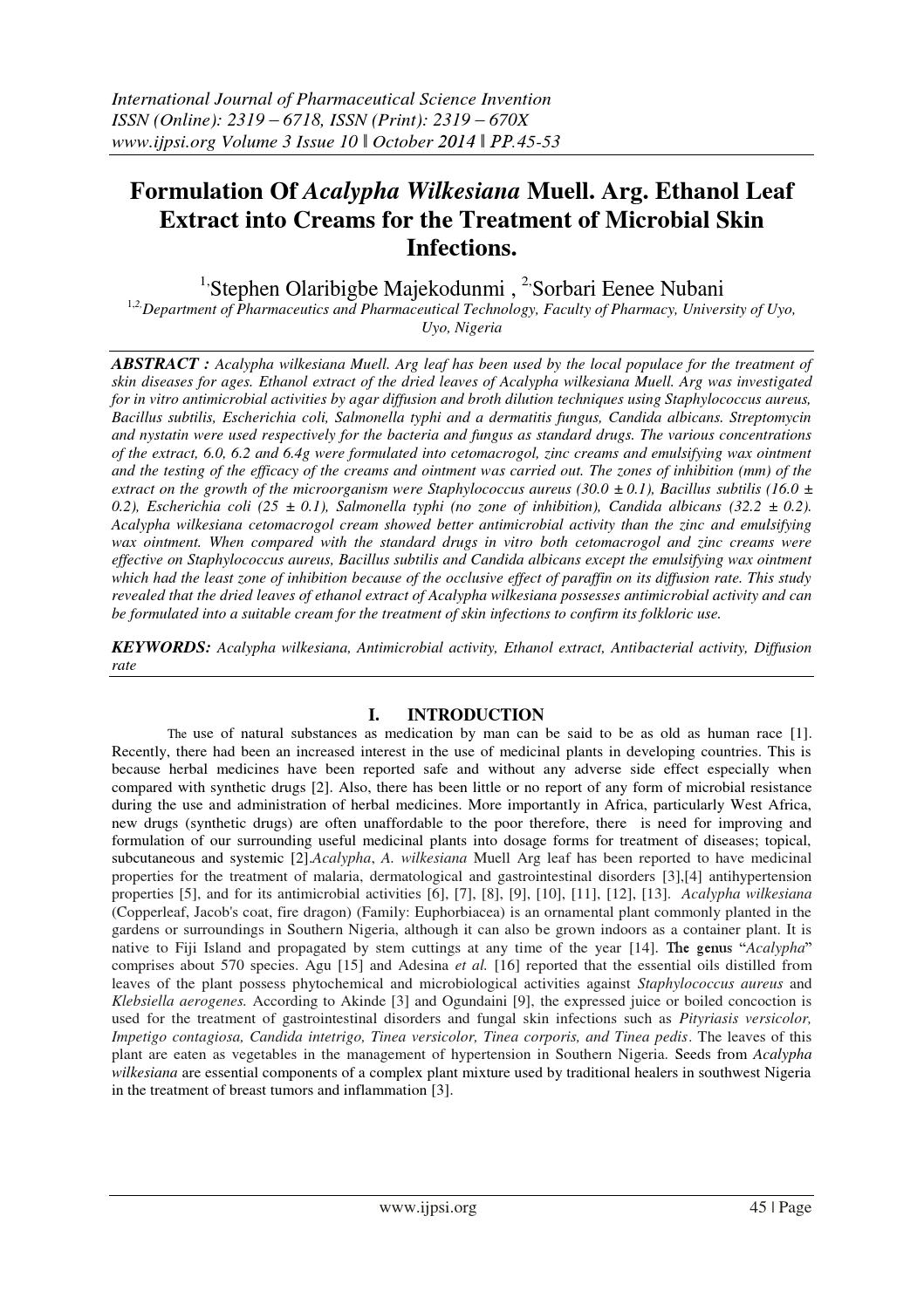 Formulation Of Acalypha Wilkesiana Muell  Arg  Ethanol Leaf