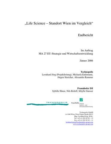 """Life Science Standort Wien im Vergleich"""", Jänner 2006 by LISAvienna ..."""