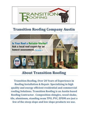 Page 1. Transition Roofing Company Austin