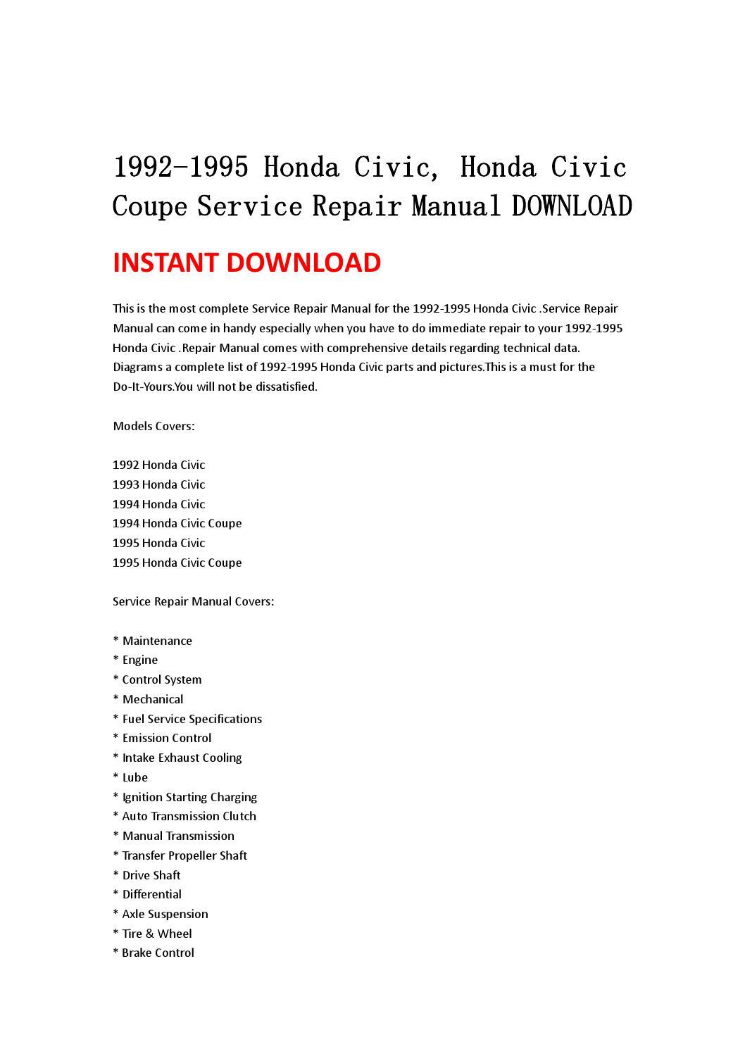 1992 honda accord lx manual download