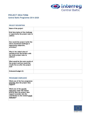 Central Baltic project idea form by Central Baltic - issuu