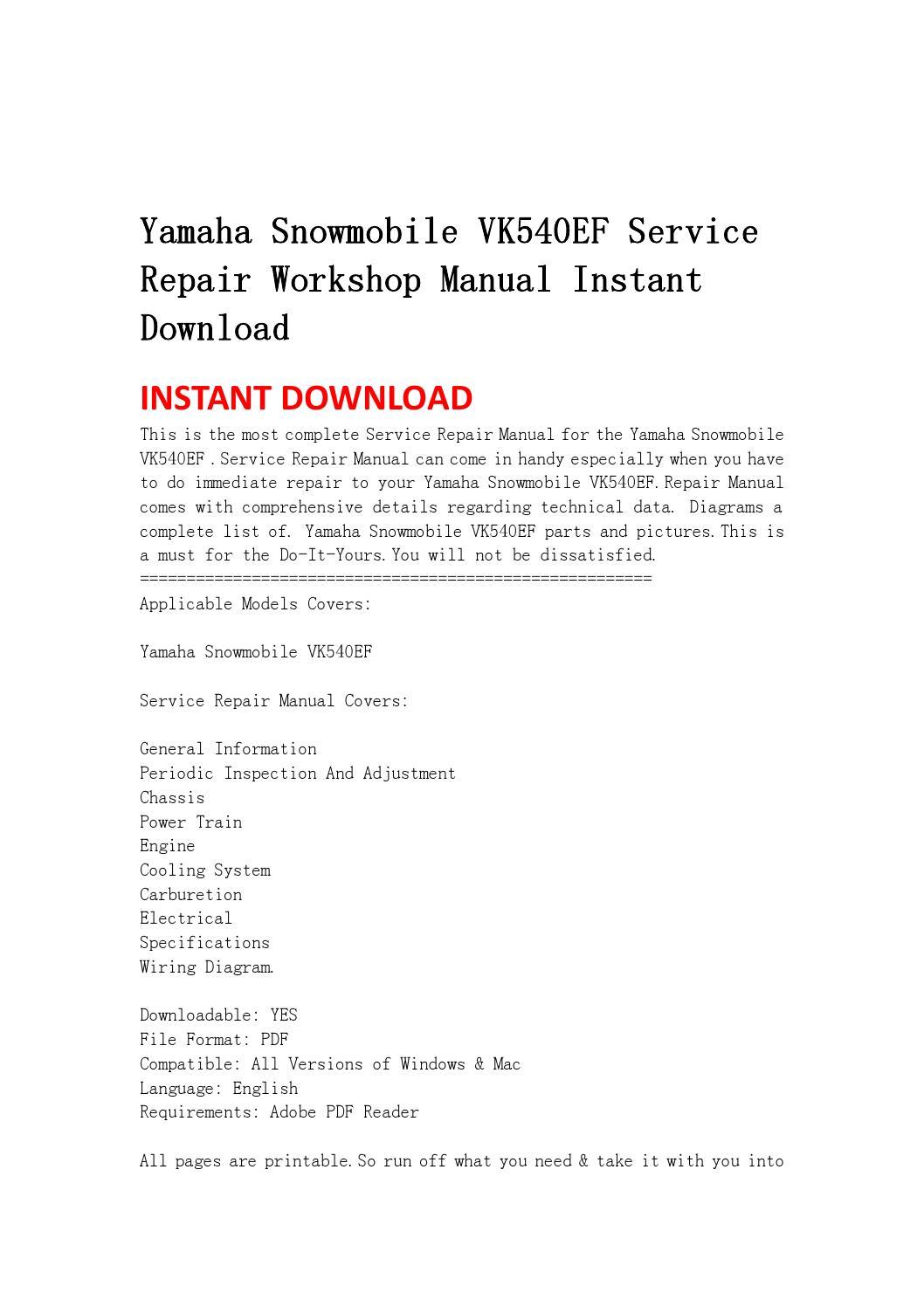 yamaha snowmobile vk540ef service repair workshop manual. Black Bedroom Furniture Sets. Home Design Ideas
