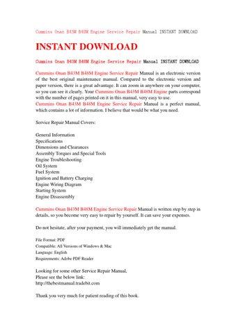 Cummins onan b43m b48m engine service repair manual instant download