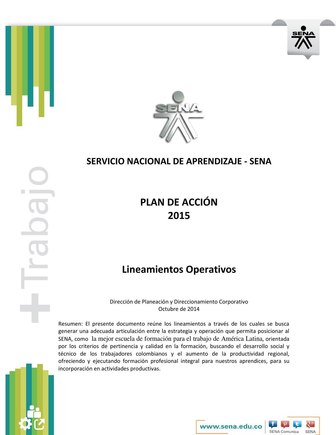 Plan de accion 2015 lineamientos operativos by SENA Oficina de ...
