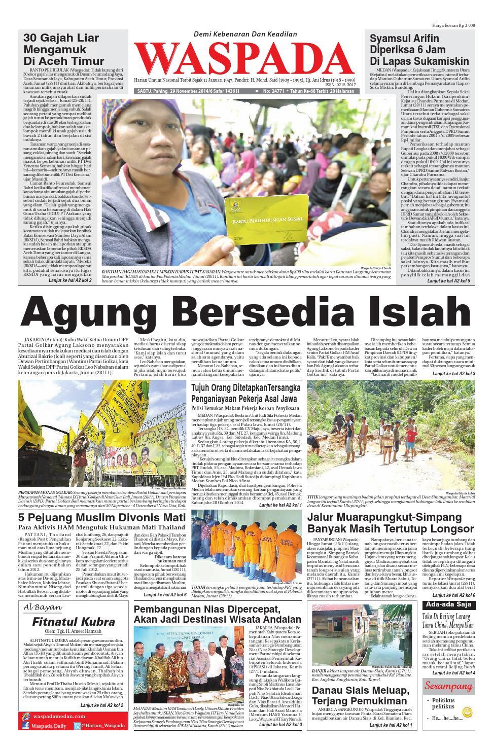 Waspadasabtu 29 November 2014 By Harian Waspada Issuu Produk Ukm Bumn Outer Pendek Ijo Coklat Berkerah