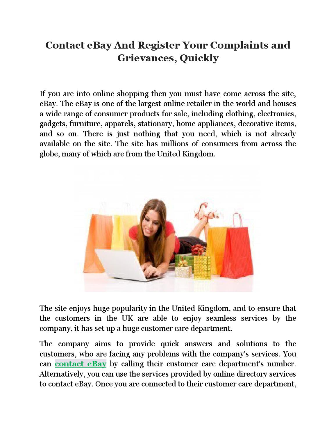 Contact Ebay And Register Your Complaints And Grievances Quickly By Rudolphsummers Issuu