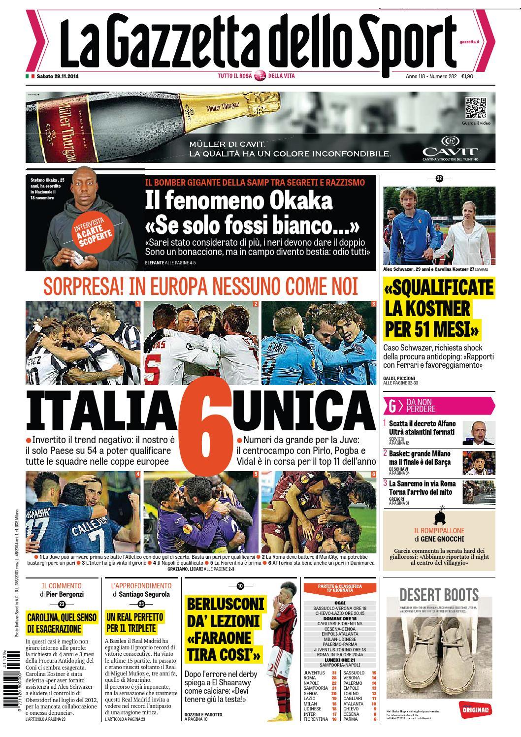 La gazzetta dello sport 29 11 2014 by Gamesworld Giammello - issuu 3f3f4742f1a3