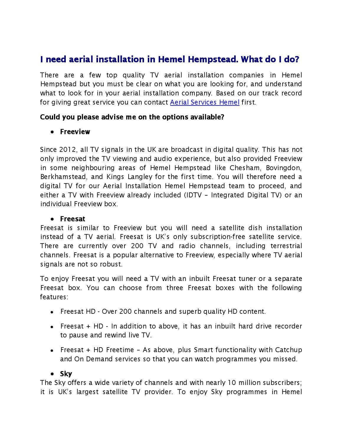 I need Aerial Installation in Hemel Hempstead  What do I do