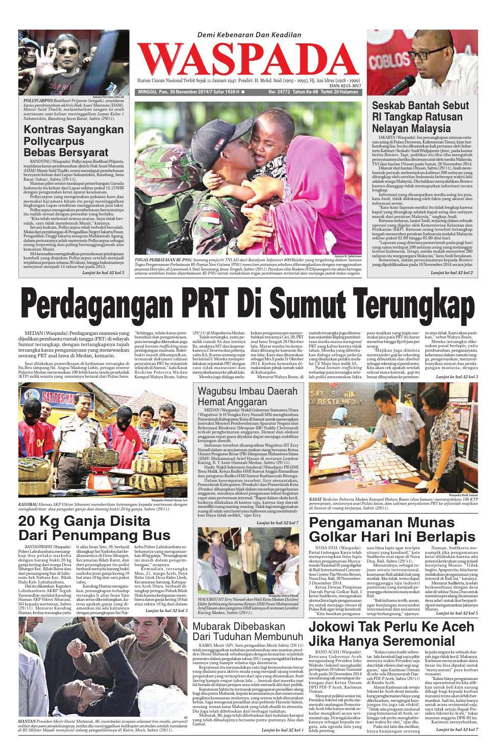 Waspada Minggu 30 November 2014 By Harian Issuu Produk Umkm Bumn Lapis Surabaya Panjang Hj Enong