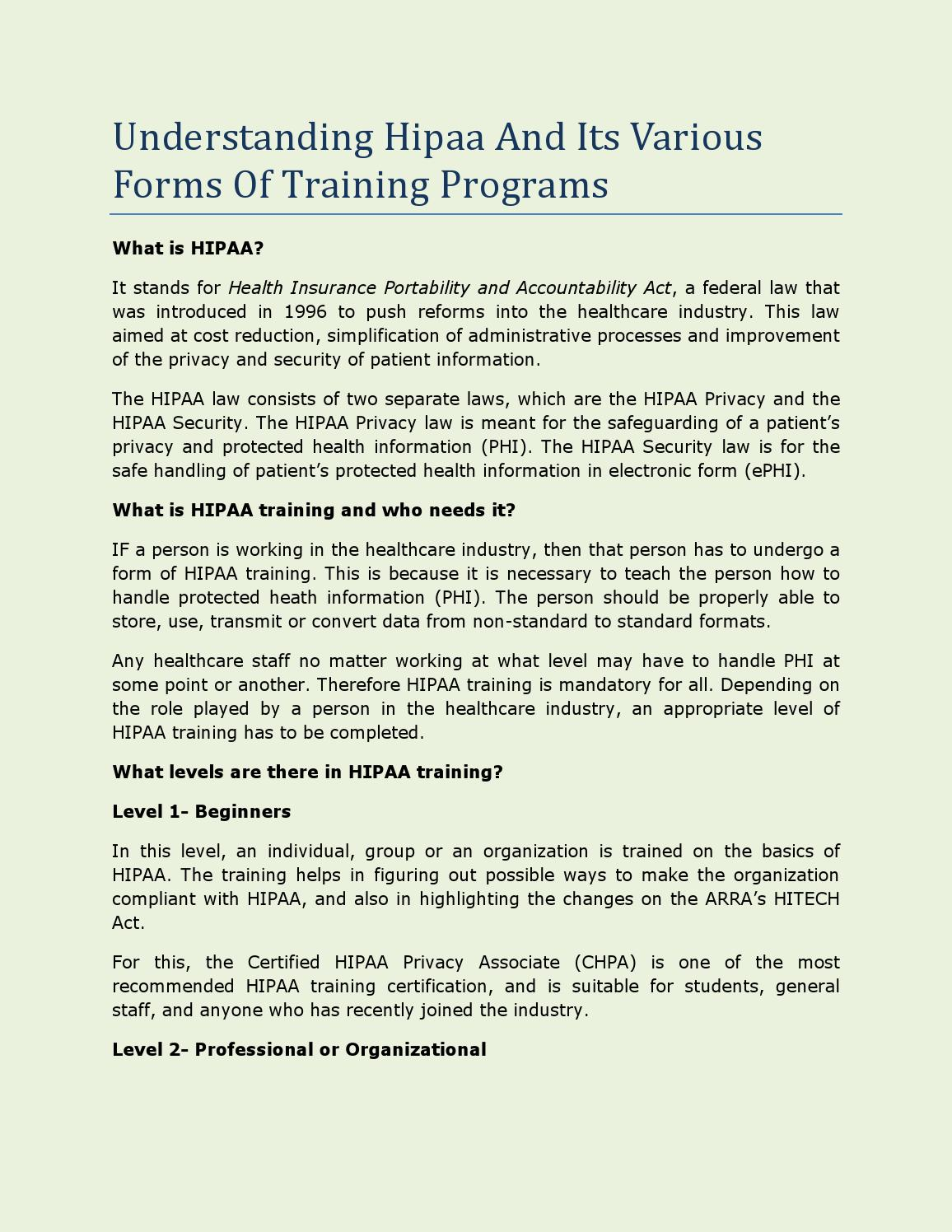Understanding Hipaa And Its Various Forms Of Training Programs By