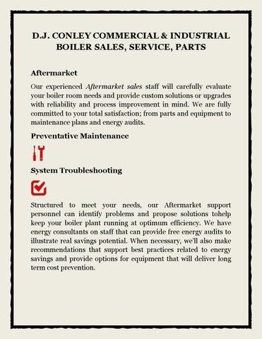 D j conley commercial & industrial boiler sales, service