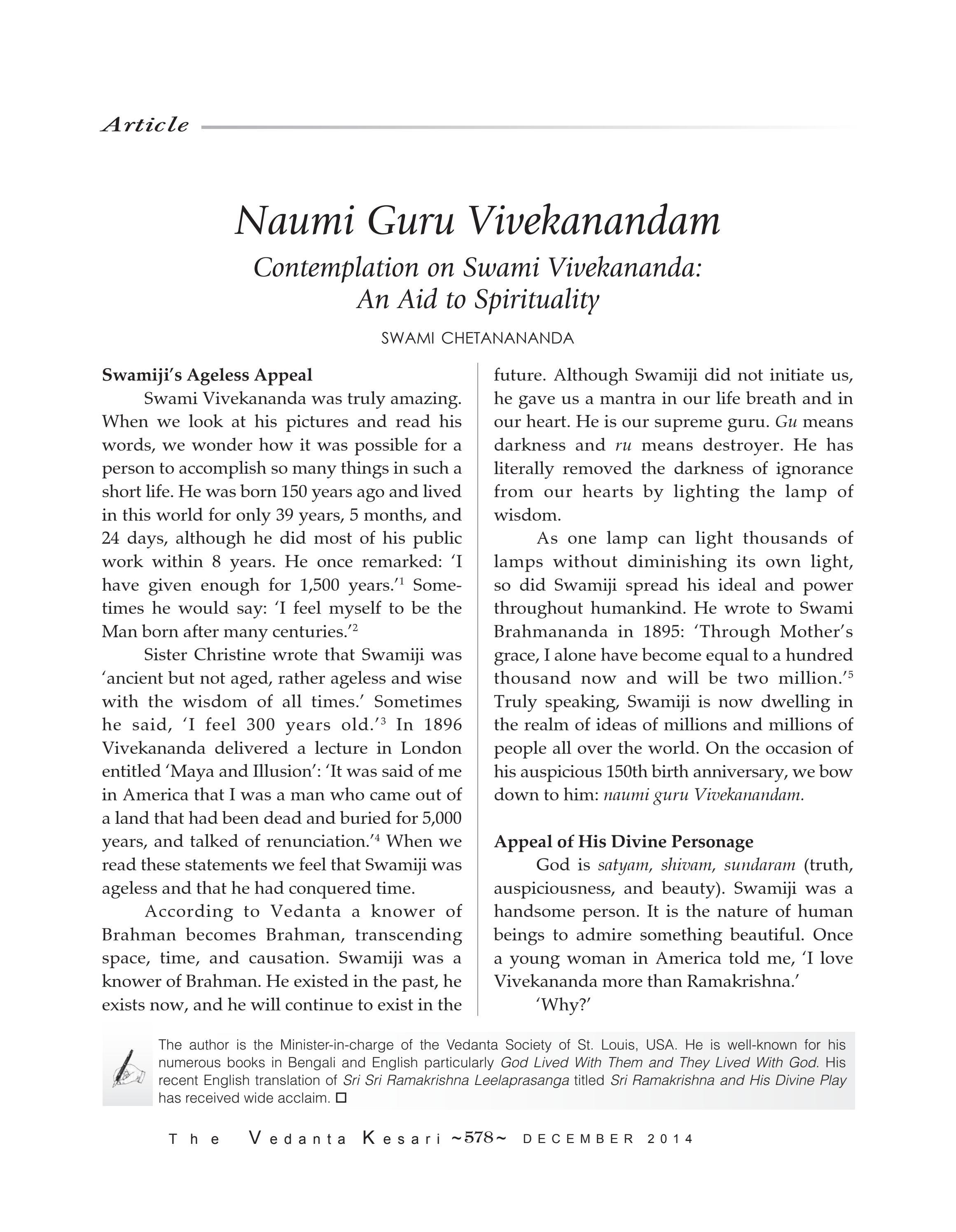 The Vedanta Kesari December 2014 by Sri Ramakrishna Math Chennai - issuu