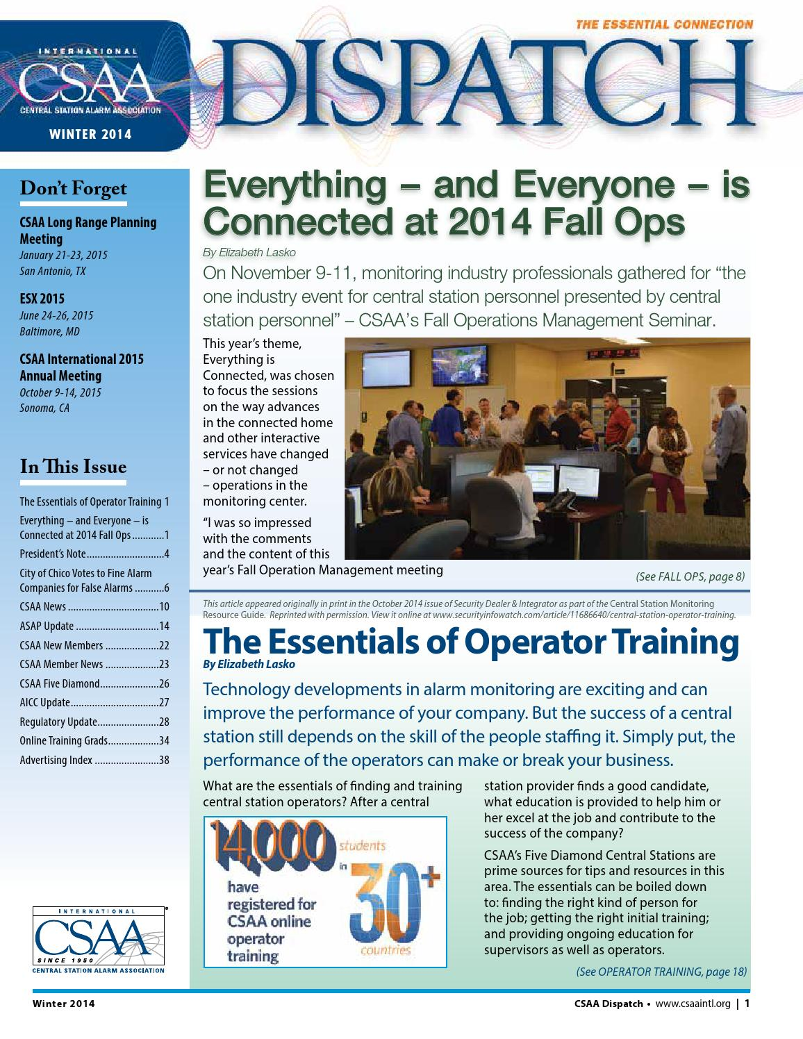 CSAA Dispatch Winter 2014 online version by The Monitoring