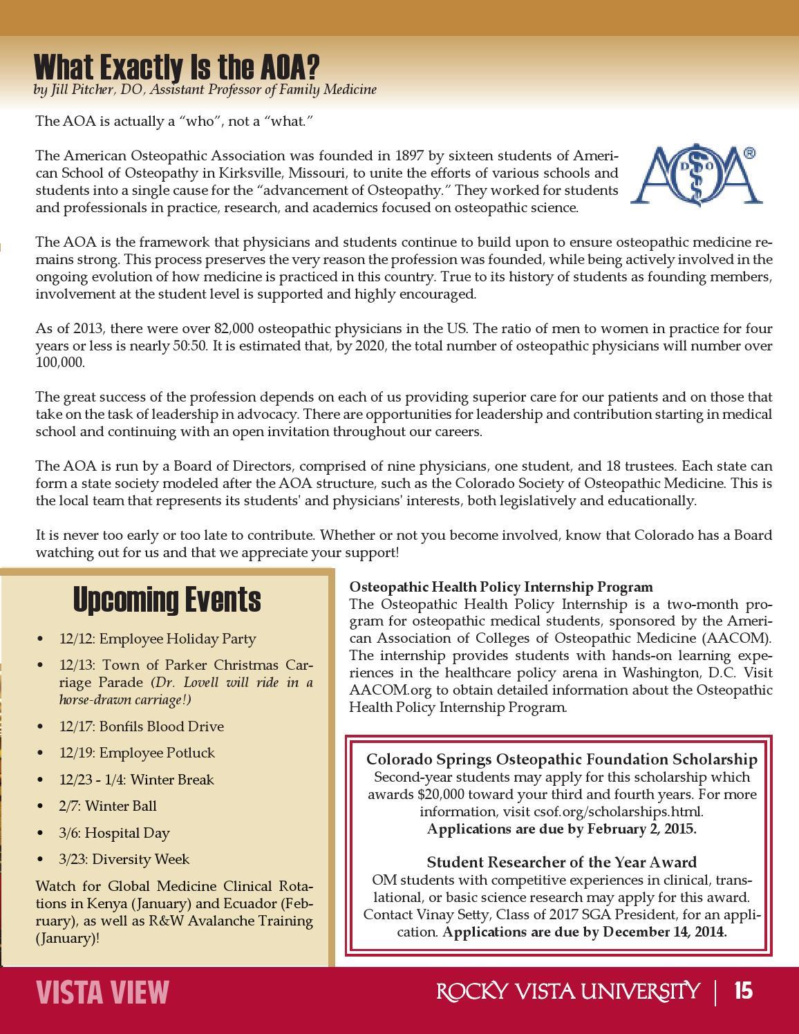 Vista View Newsletter - December Issue by Rocky Vista University