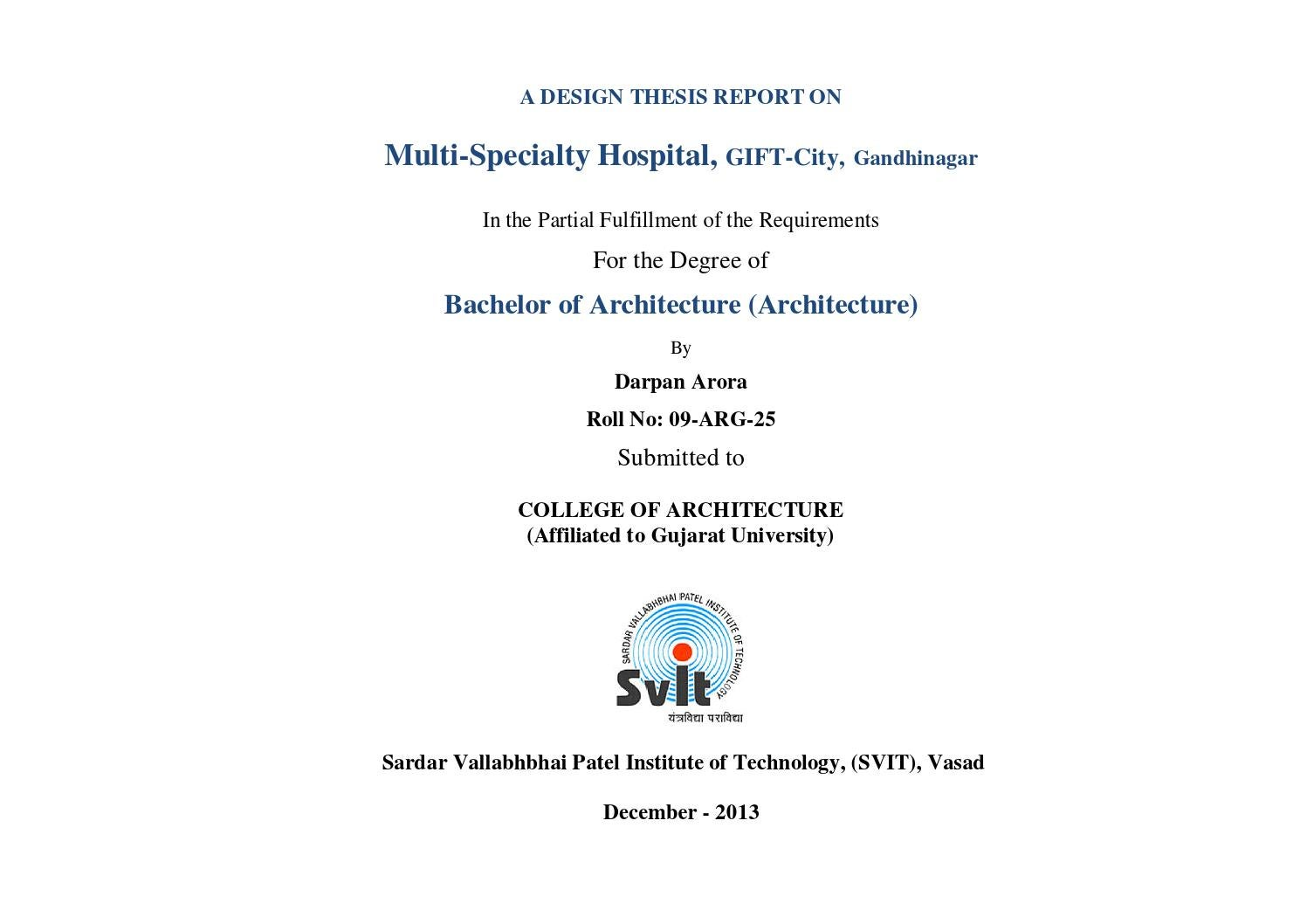 Design thesis: Multi-Specialty hospital by Darpan Arora - issuu