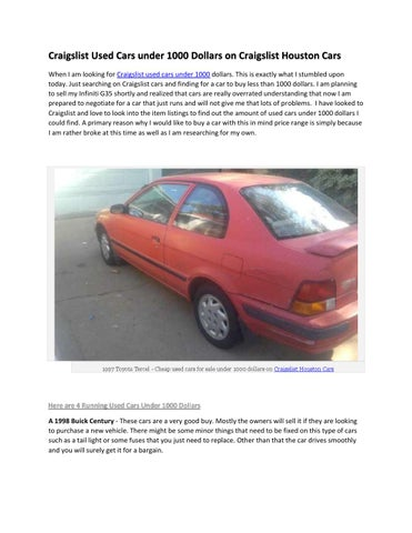 Used Cars For Sale Under 1000 On Craigslist Cars By Blogg Updatingg