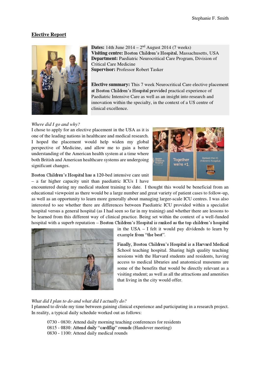 Medical Elective Report: Stephanie Smith by Selwyn Alumni - issuu