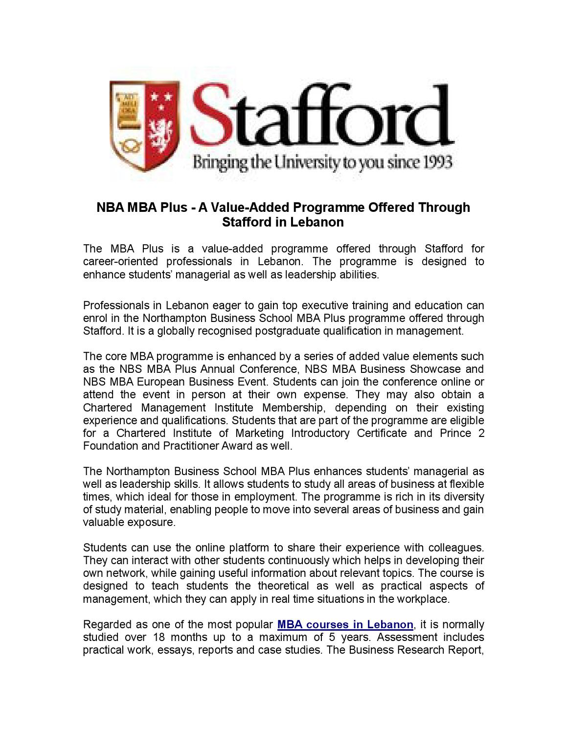 NBA MBA Plus - A Value-Added Programme Offered Through