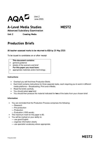 mest 2 media coursework examples