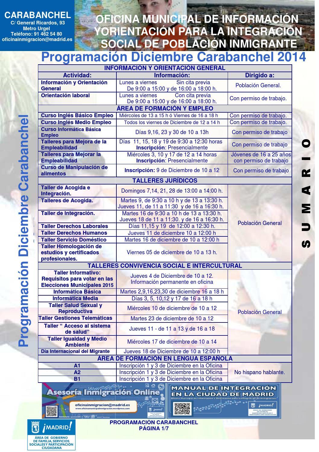 Programacion diciembre 14 carabanchel by oficina for Oficina de empleo carabanchel