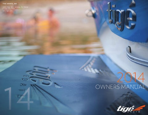2014 tige owners manual by tige boats issuu rh issuu com Boat Ignition Switch Wiring Diagram 12 Volt Boat Wiring Diagram