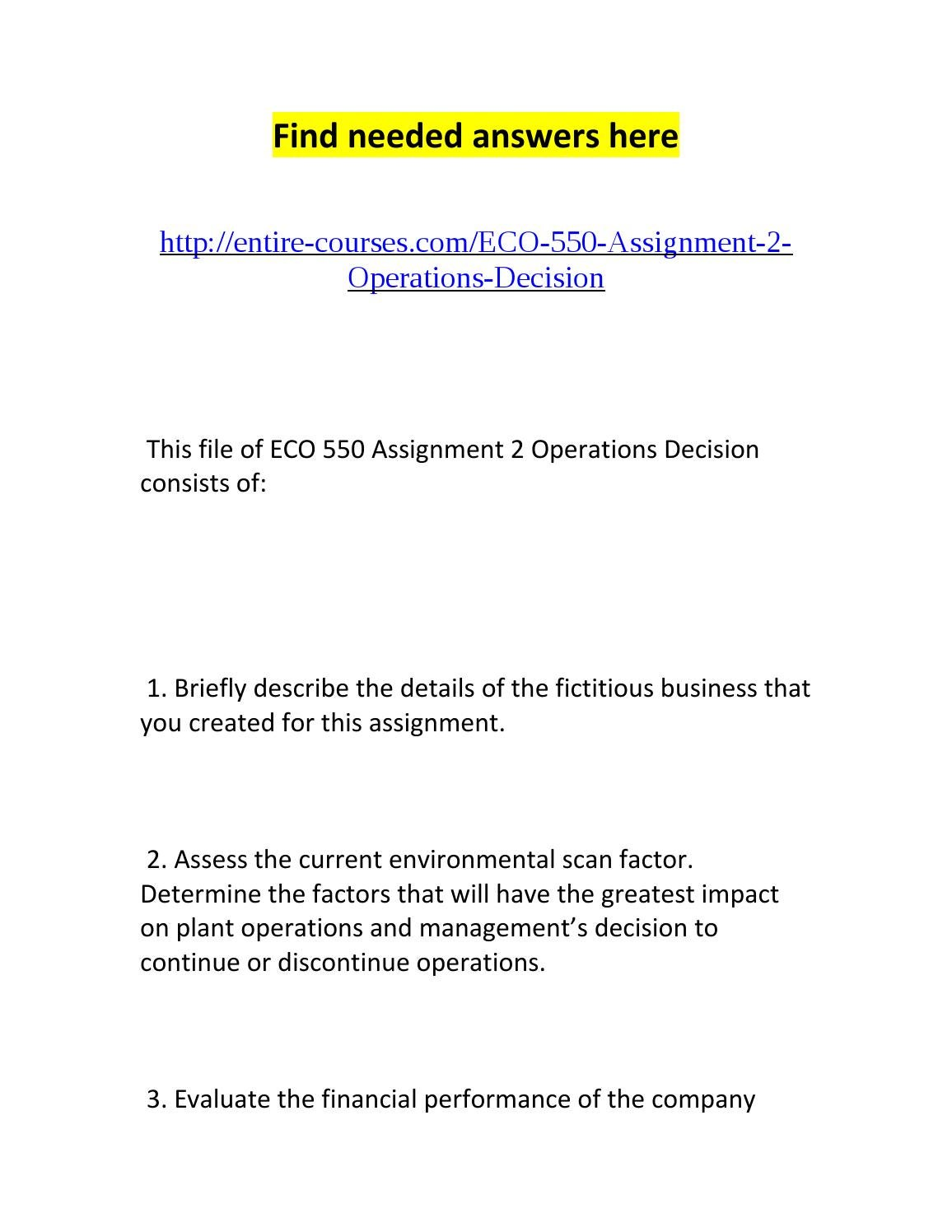 Eco-550 Assignment 2 Operations Decision