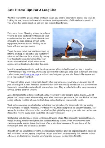 Fast Fitness Tips For A Long Life by materialisticsp03 - issuu