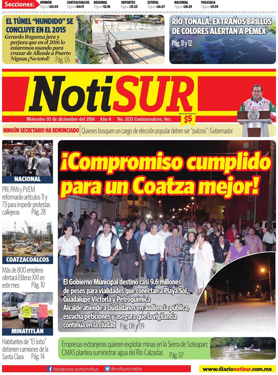 Notisur 03 De Diciembre 2014 By Diario Notisur Coatzacoalcos 2014  # Muebles Buganza