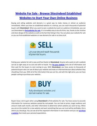 Website For Sale - Browse SitesIndeed Established Websites