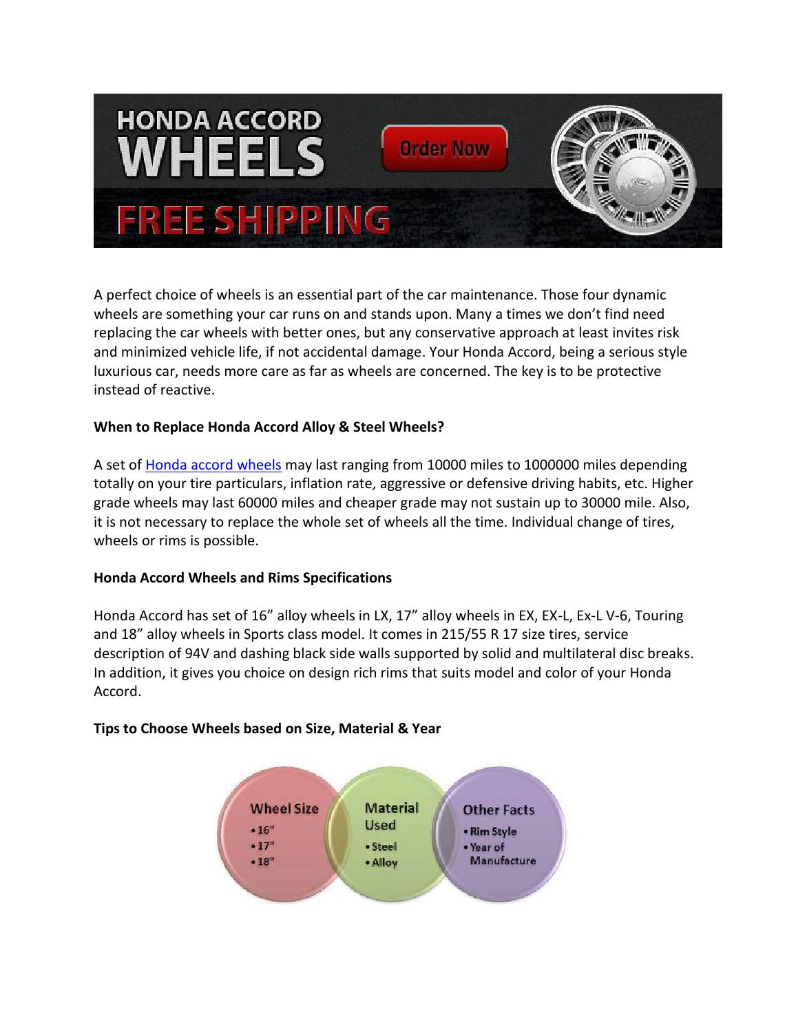 How to Choose Wheels for Honda Accord (Alloy Wheels, Steel Wheels & Rims)  by tapsprasad - issuu