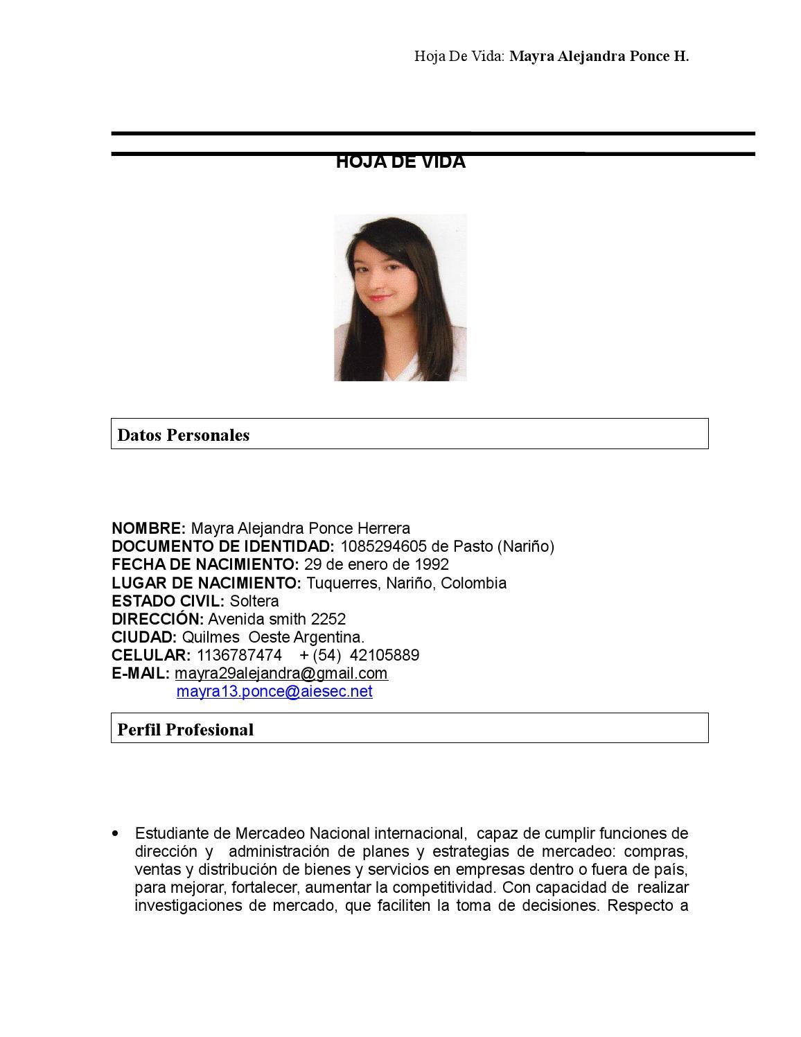 Hoja de vida lista by MAYRA ALEJANDRA PONCE - issuu