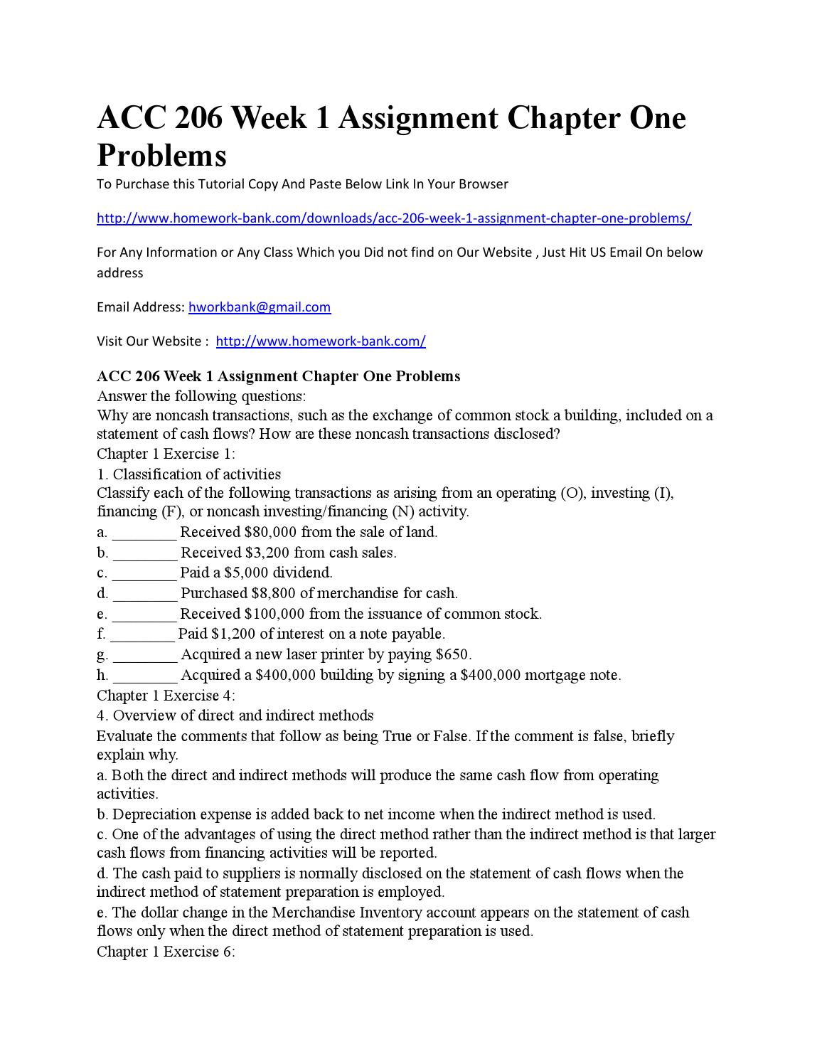 ACC 206 Week 2 Assignment, Quiz and Question Paper