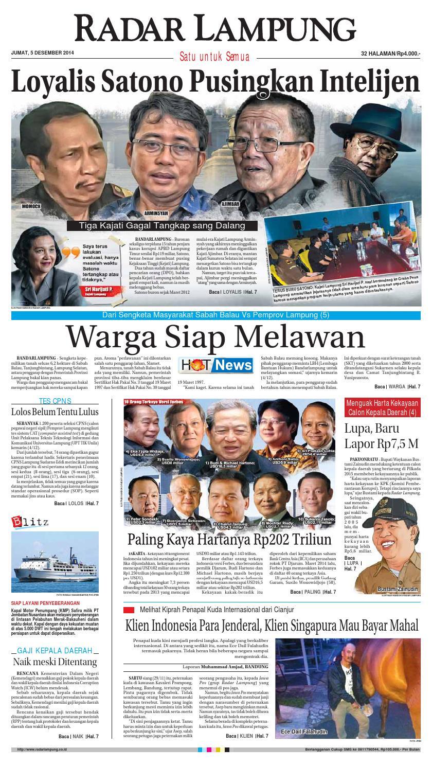 Radar Lampung Selasa 30 Desember 2014 By Ayep Kancee Issuu Mainan Mobil Anak Tomica Limited Vintage Series Datsun Bluebird 1300 Standard Jumat 5