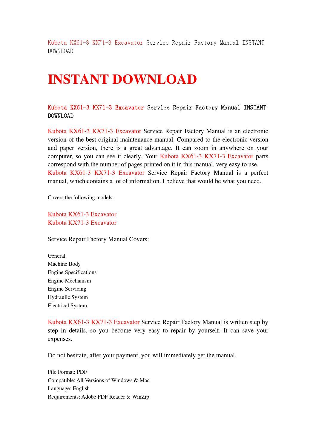 Kubota kx61 3 kx71 3 excavator service repair factory manual instant  download by jsjhefnjn - issuu