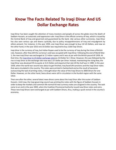 Know The Facts Related To Iraqi Dinar And Us Dollar Exchange Rates Has Been Caught Attention Of Many Investors People All Across