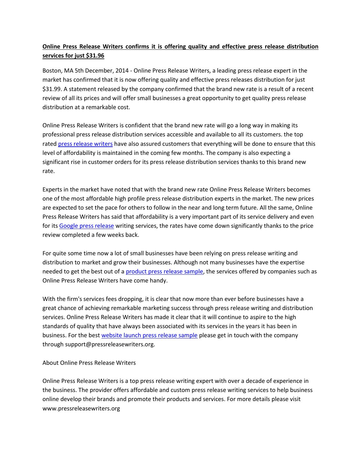 sample event press release