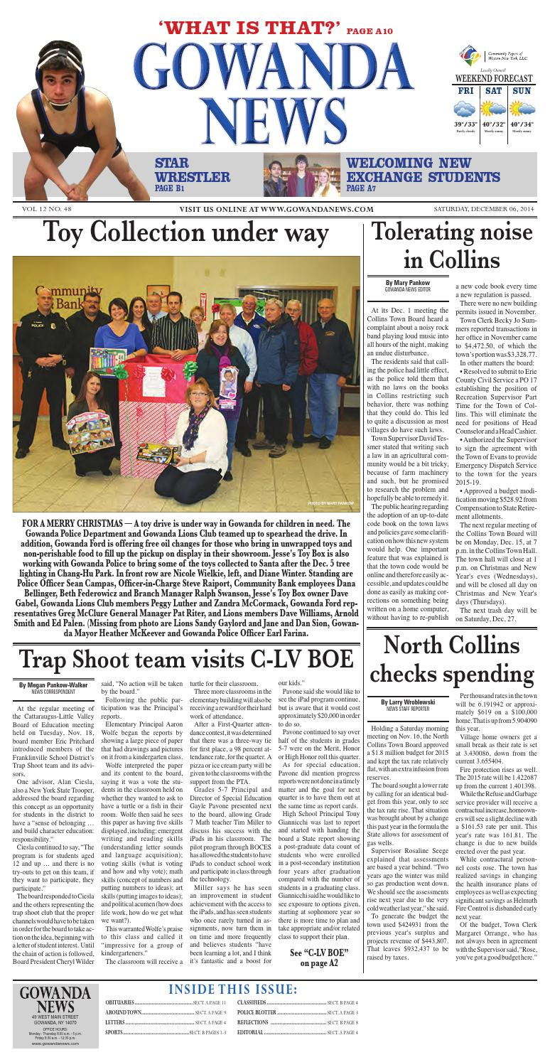 Gowanda News Section A 12 07 2014 By Community Papers Of WNY