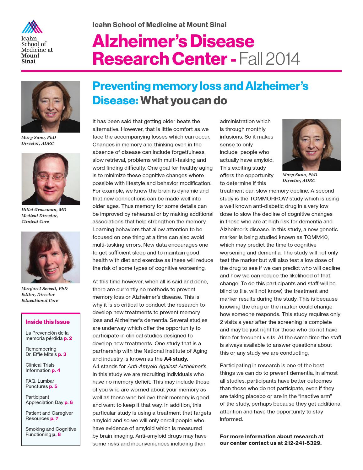 ADRC Newsletter - Fall 2014 by Mount Sinai Health System - issuu