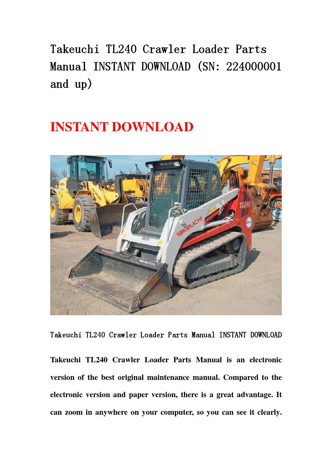 Takeuchi Tl240 Crawler Loader Parts Manual Instant Download  Sn 224000001 And Up  By Ksefmme