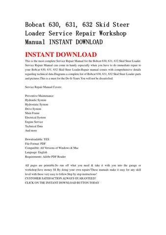 bobcat 630 631 632 skid steer loader service repair workshop manual instant download by. Black Bedroom Furniture Sets. Home Design Ideas