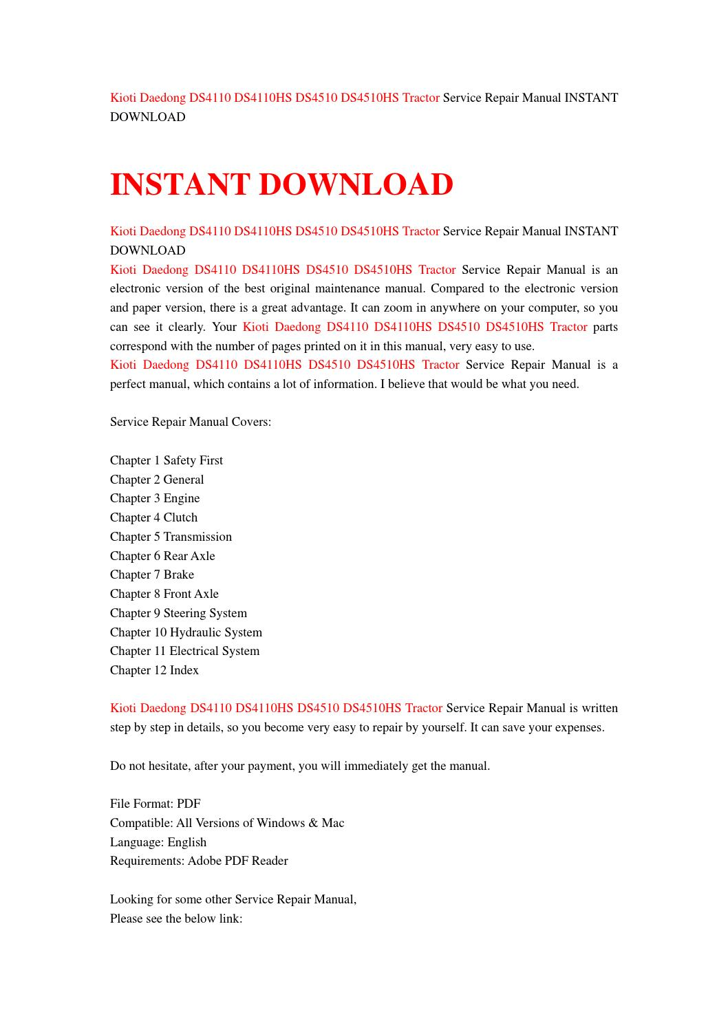 kioti daedong ds4110 ds4110hs ds4510 ds4510hs tractor service repair manual instant download