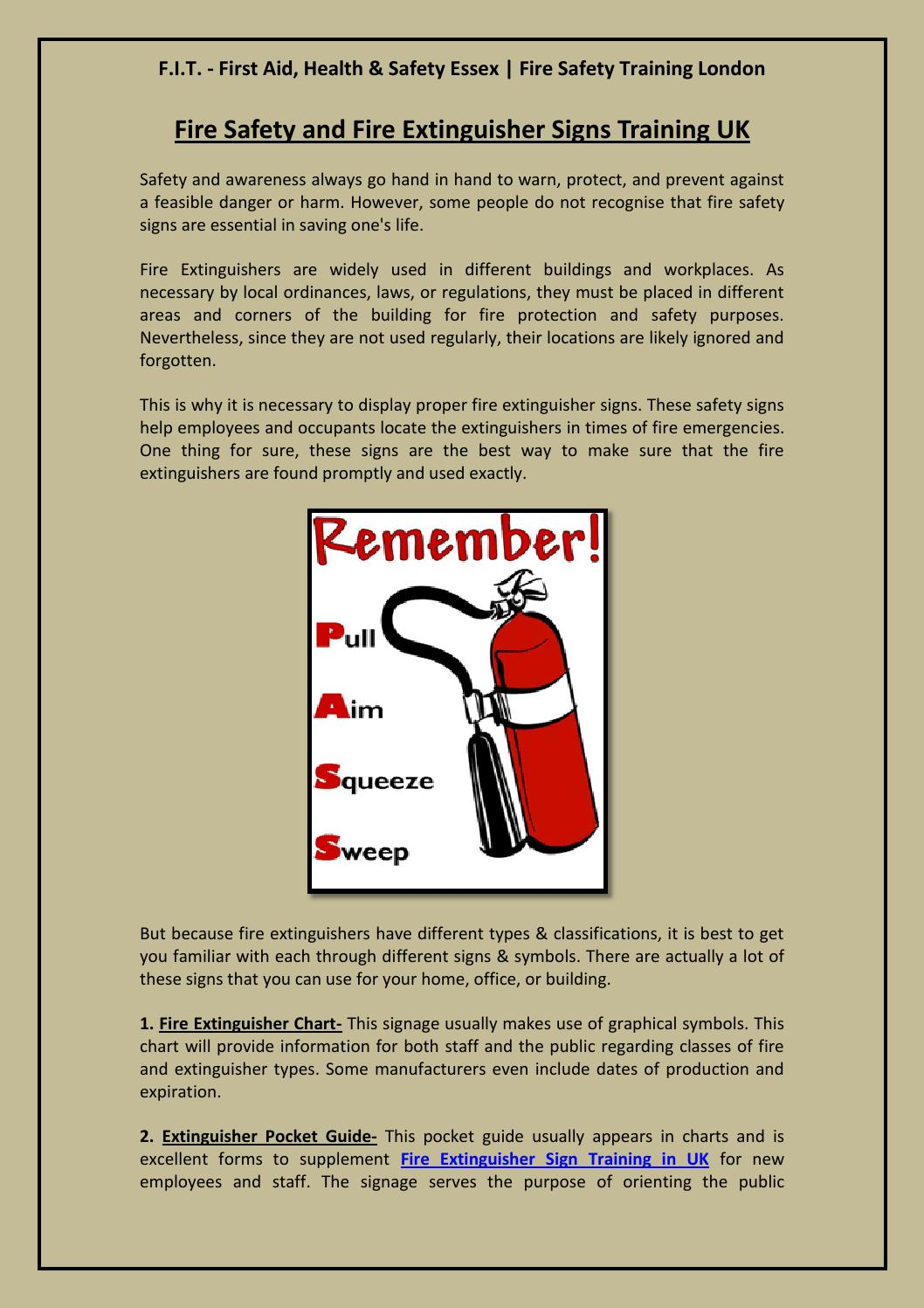 Fire Safety and Fire Extinguisher Signs Training UK by F I T