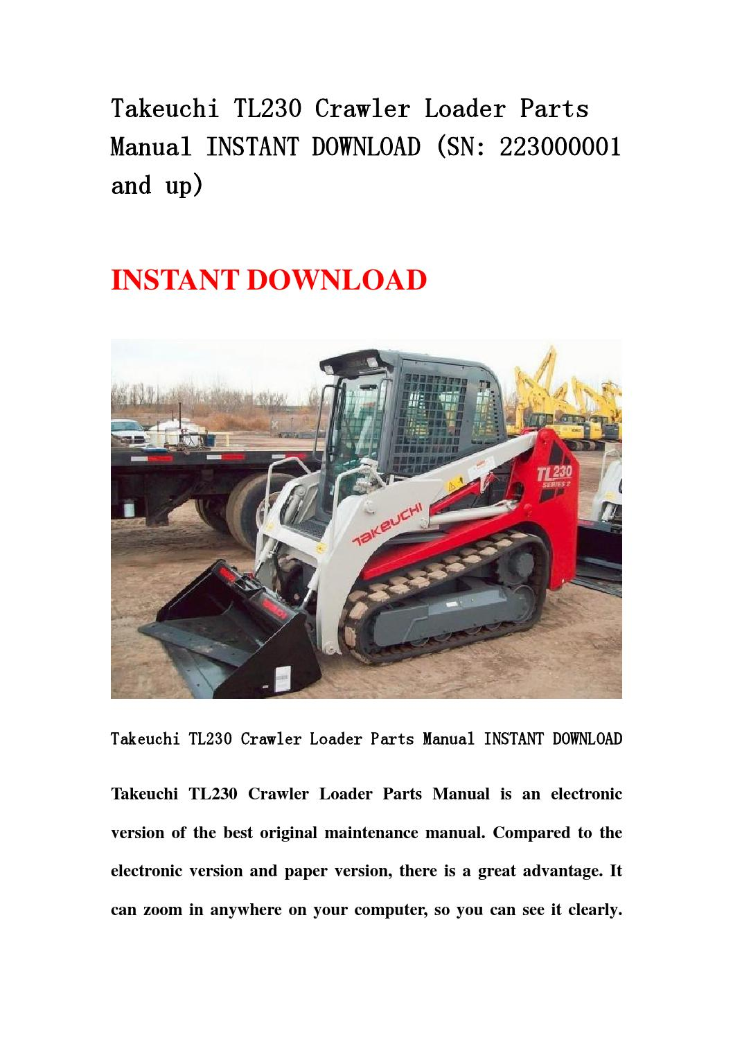 takeuchi tl230 crawler loader parts manual instant. Black Bedroom Furniture Sets. Home Design Ideas