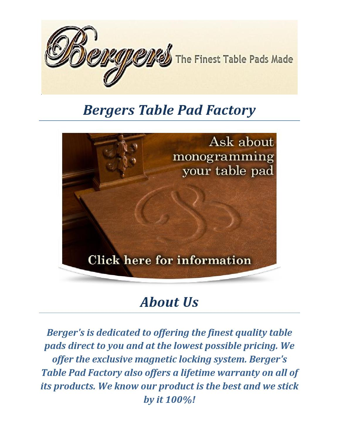 Bergers Table Pad Factory Table Protector By Bergers Table Pad Factory    Issuu