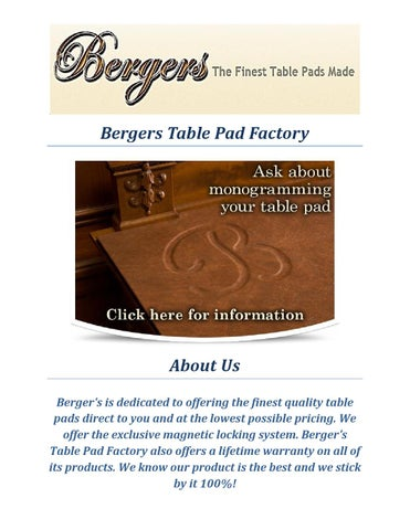 Bergers Table Pad Factory Table Protector By Bergers Table