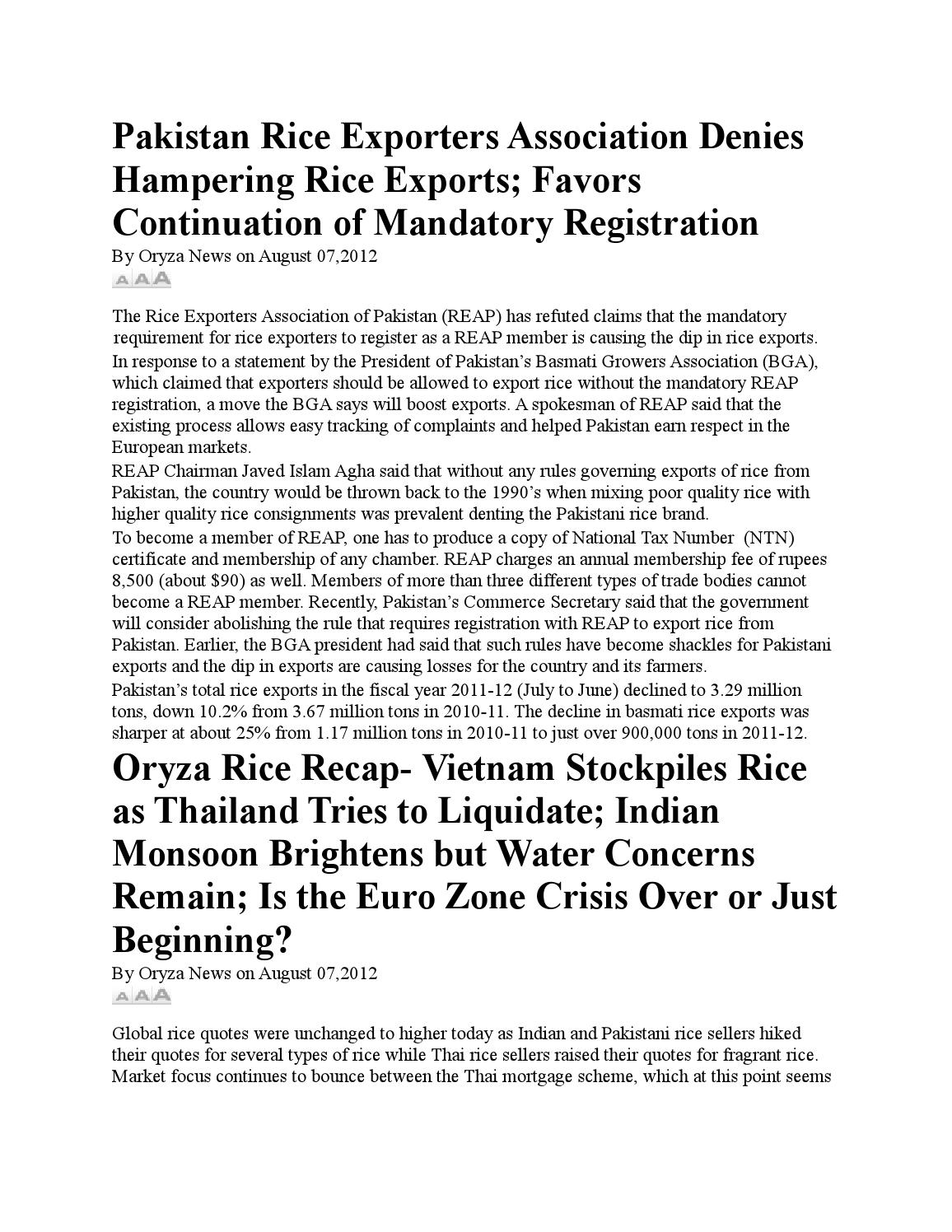 08 08 2012 oryza news updates by Daily Rice E-Newsletters