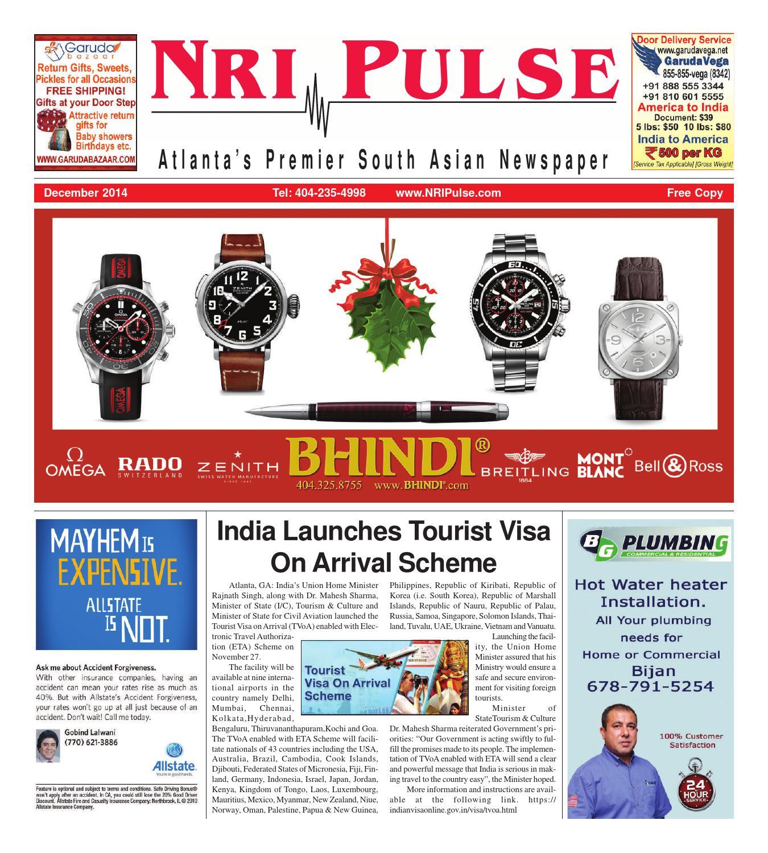 Electronic Visa Application Myanmar: NRI Pulse Print Issue Dec 2014 By NRI Pulse